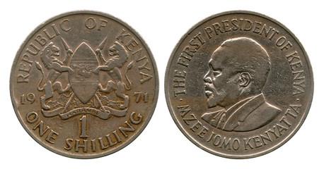 one shilling, Kenya, 1971