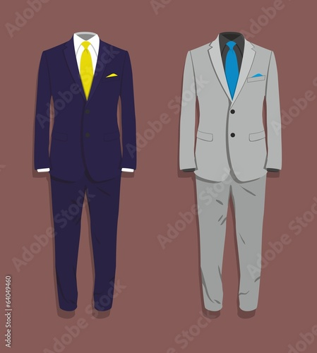 Suit blue and grey. Vector