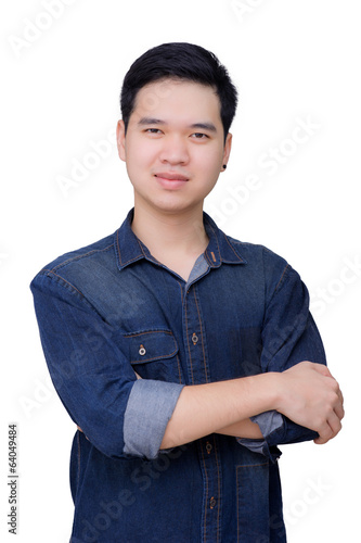 Portrait of asian man wearing jeans shirt