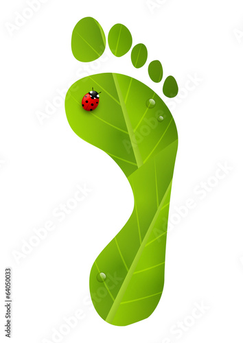 Green foot print with ladybug