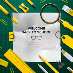 Welcome Back to school template with school's supplies