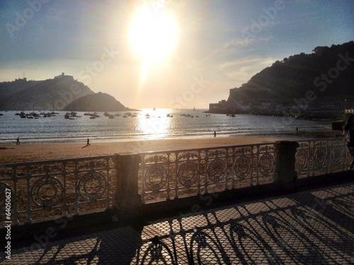 canvas print picture sunset in san sebastian, spain