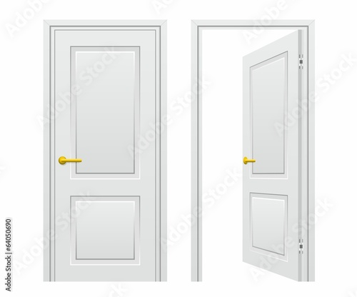 Closed and opened door Isolated on White Background