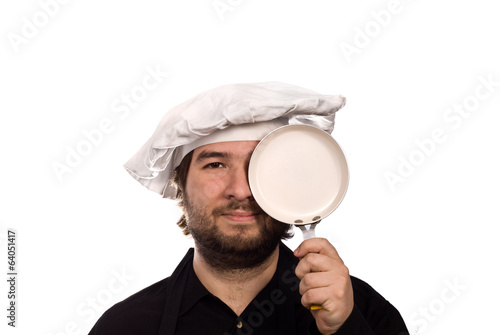 The Chef Portrait with Small Fry Pan isolated on white