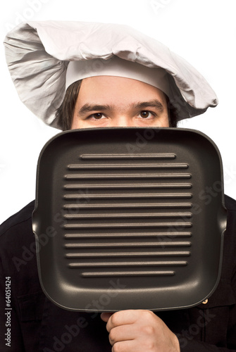 The Chef Portrait with Grill Fry Pan isolated on white
