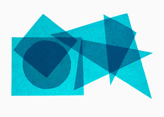 Blue geometry - paper geometrical shapes on white background