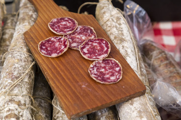 Salami on Display at a Traditional Italian Food Market