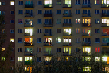 window of an apartment block at night