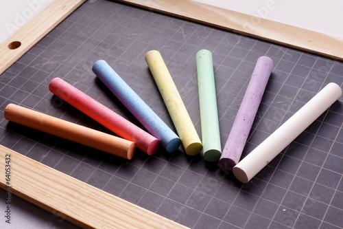 Blackboard and Coloured Chalks