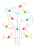 Fototapety Birds on trees with talking bubbles. Social network concept