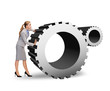 busy businesswoman pushing cogwheel