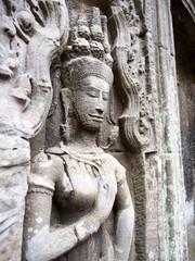 Devata at Ta Prohm in Angkor - Siem Reap, Cambodia