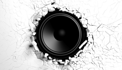 White wall breaks from sound with loudspeaker illustration © viperagp