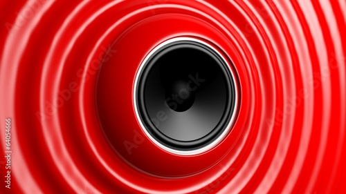 altavoz-con-onda-capilar-abstracta-roja