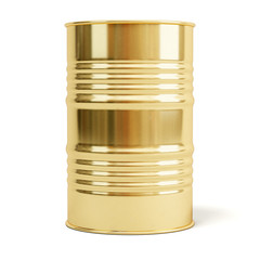 Gold barrel. Oil drum isolated on white