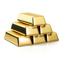 Gold bars isolated on white background. Stack of golden bullions