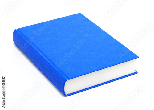 Blue hardcover book isolated on white background
