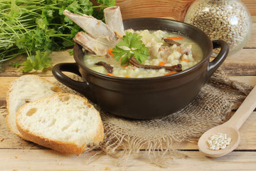 barley soup with ribs and mushrooms