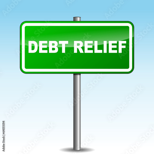 Vector debt relief signpost