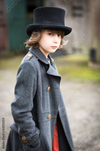 Boy in Long Coat and Top Hat