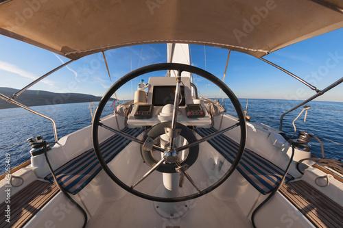 Foto op Plexiglas Zeilen Inside the cockpit of sailing yacht