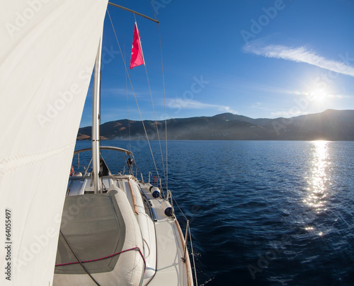 Sailing boat front view