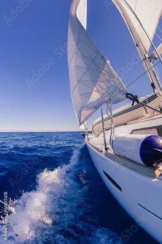 Fototapeta Sailing boat wide angle view in the sea