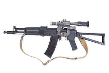 modern assault rifle ak105 with optical sight on white