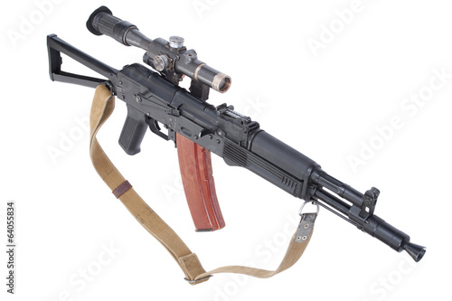 modern assault rifle ak105 with optical sight on white