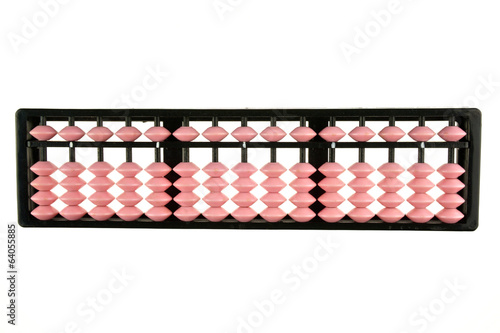 Pink and black abacus retro japan calculator isolated