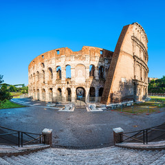 Flavian colosseum amphitheater in Rome at sunset