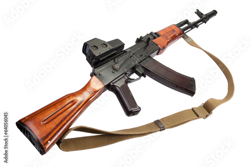 Kalashnikov AK assault rifle with optical sight on white