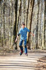 Boy roller skating