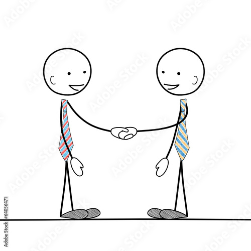 STICKMEN SHAKING HANDS (business partnership collaboration)