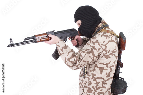 mercenary with kalashnikov rifle