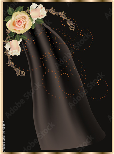 beautiful roses corner on dark background