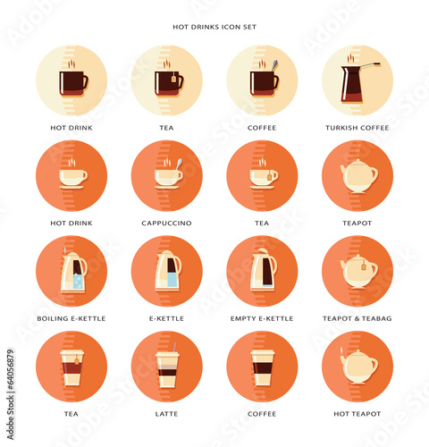 Hot drinks icon set.