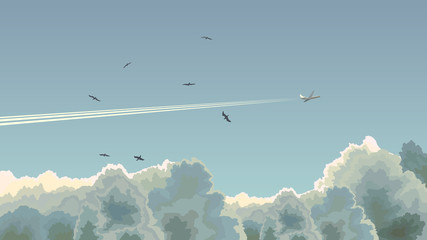 Horizontal illustration of plane among clouds.