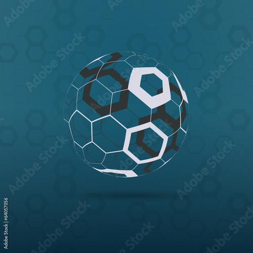 Globe Design Vector Illustration - Hexagonal Surface Pattern
