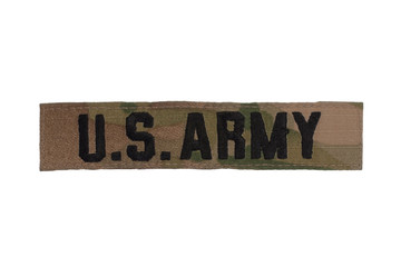 us army camouflaged uniform name badge