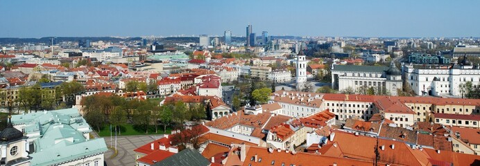 View of the old Vilnius from the tower of church