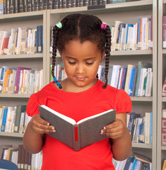 Little student with a book reading