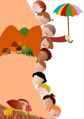 bambini in autunno