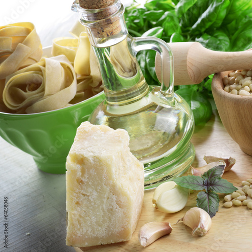 Ingredients for pasta pesto