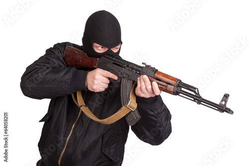 terrorist with kalashnikov isolated