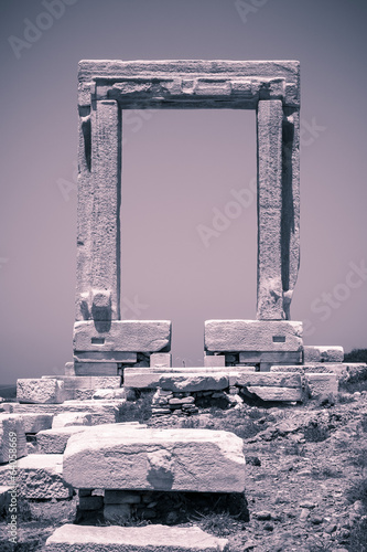 vintage shoot of Apollo temple, landmark of Naxos, Greece