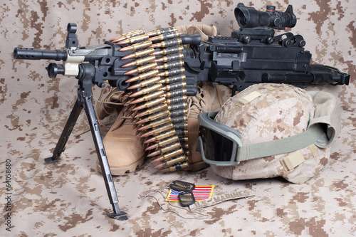 US Marines background concept with machine gun