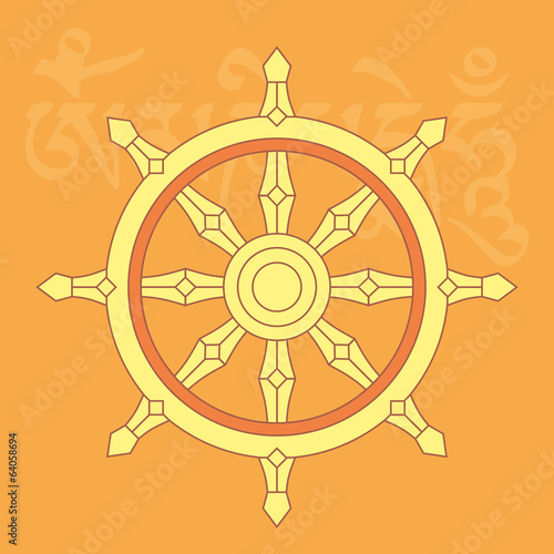 Wheel of dharma,one of eight buddhist religious symbols,vector