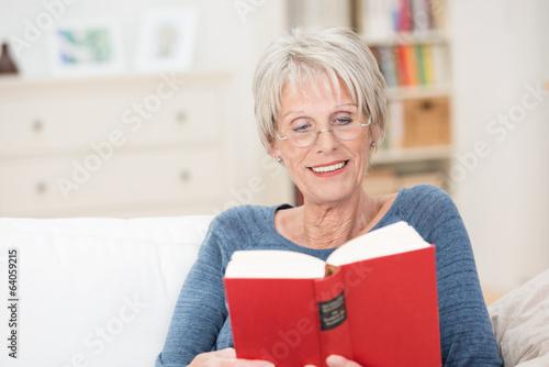 Leinwanddruck Bild rentnerin liest in einem buch