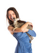 Pretty girl in blue night dress with cat